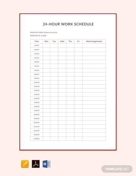 work hour template