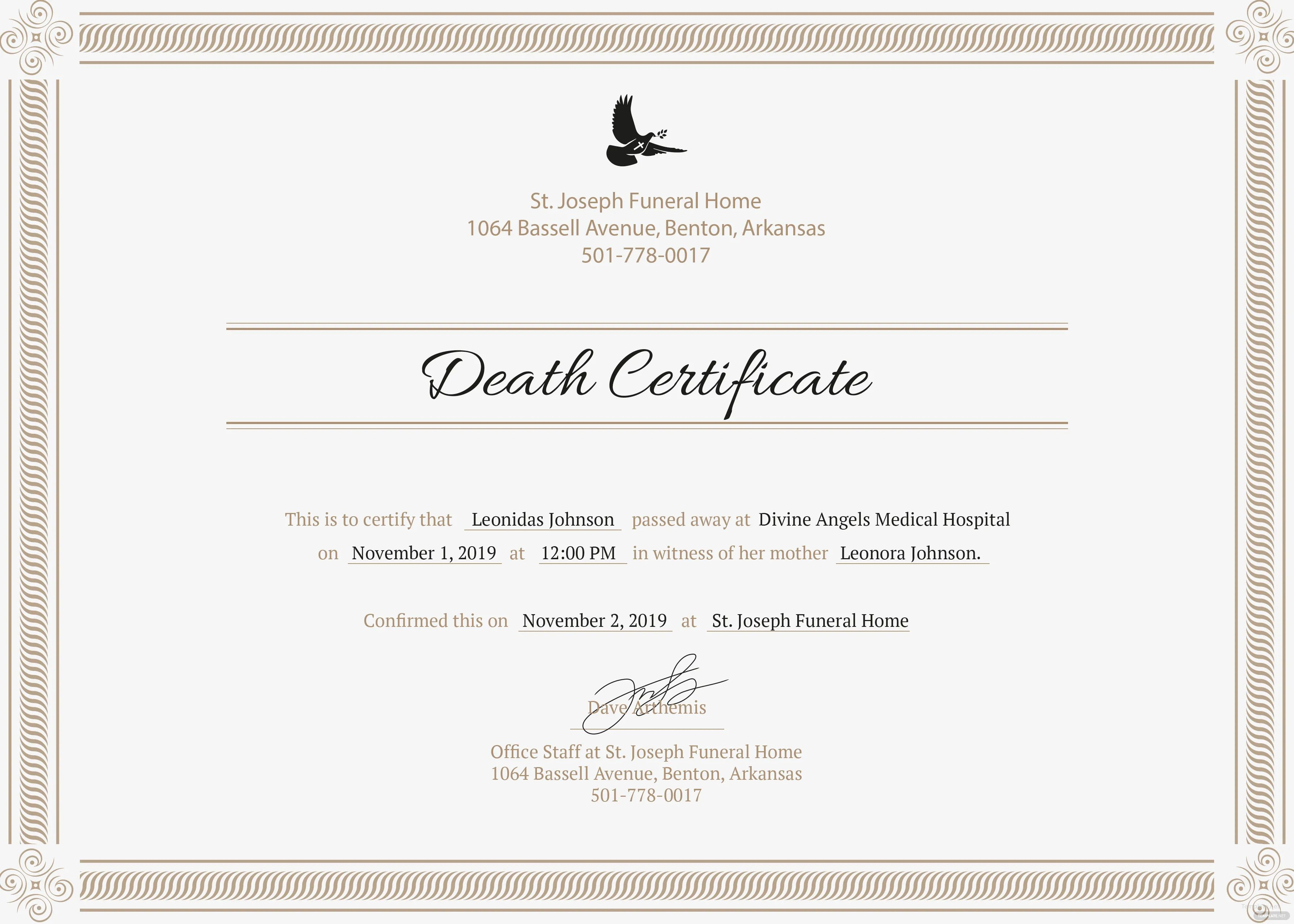 baby death certificate template