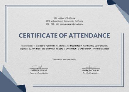 Free Program Attendance Certificate Template Free Templates