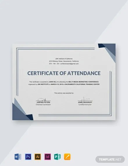 FREE Conference Attendance Certificate Template Download 435+