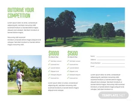 Golf Brochure Template in in Adobe Photoshop, Illustrator, InDesign