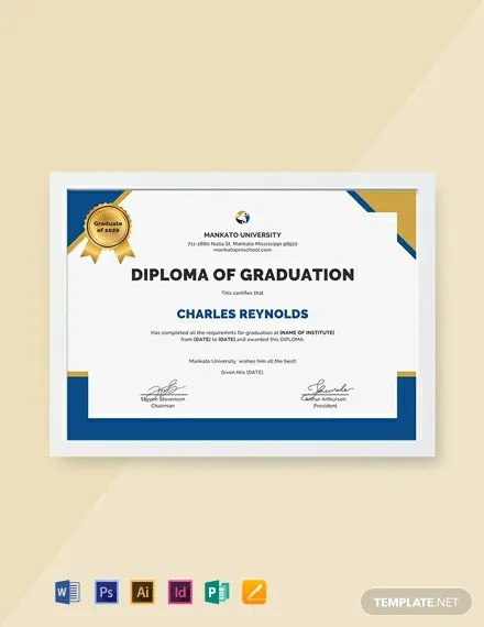 FREE Diploma of Graduation Certificate Template Download 435+