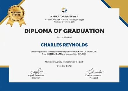 Free Diploma of Graduation Certificate Template in PSD, MS Word - graduation certificate