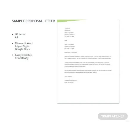 Job Proposal Letter Template Free Templates
