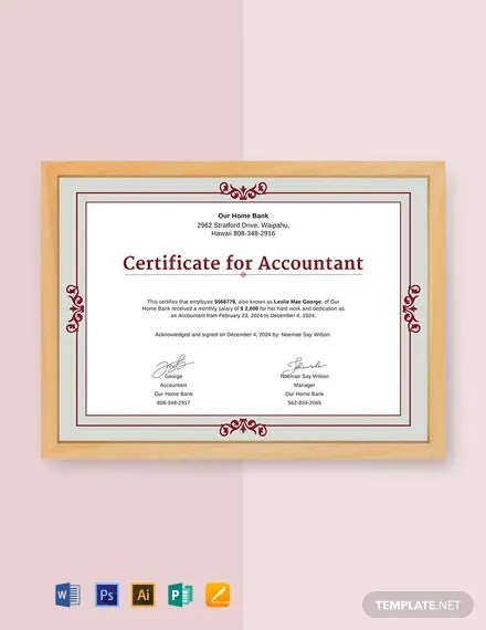 FREE Salary Certificate for Accountant Template Download 435+
