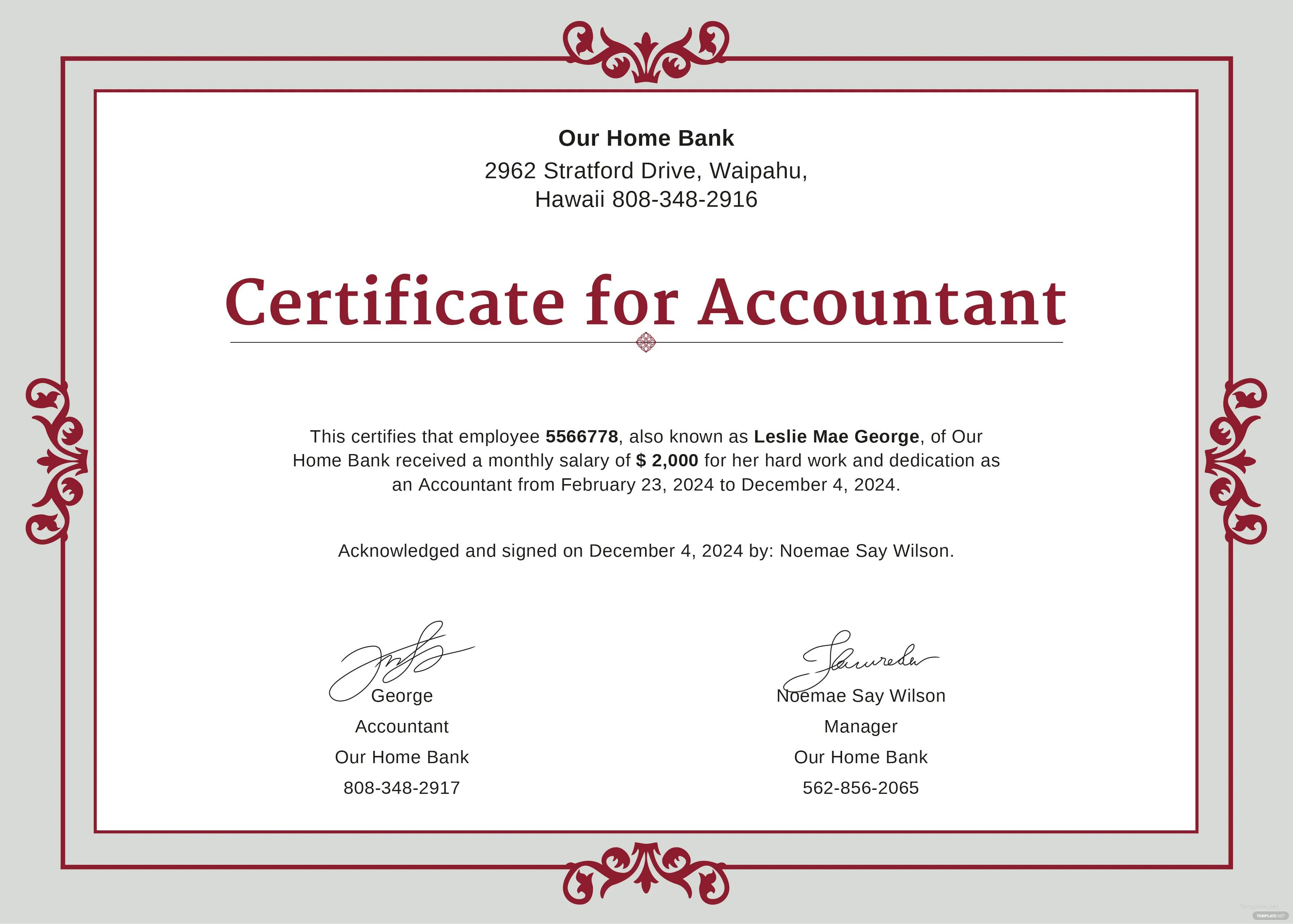 ms word certificates