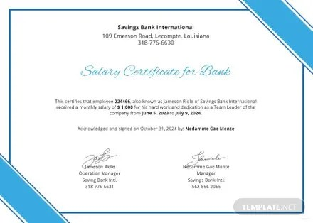 Salary Certificate for Bank Template in Microsoft Word, Microsoft