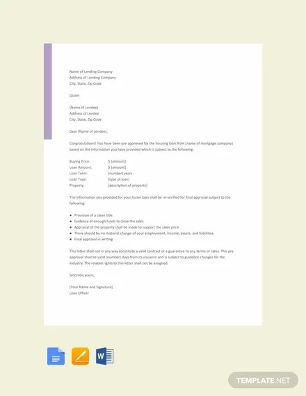 FREE Pre Approval Letter Sample Template Download 2068+ Letters in