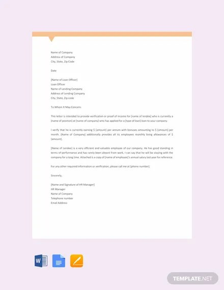 FREE Proof of Income Letter Template Download 2140+ Letters in Word