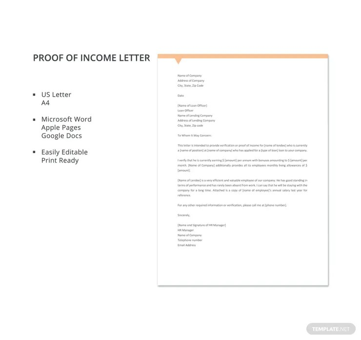 16+ Proof of Income Letters - PDF, DOC Free  Premium Templates