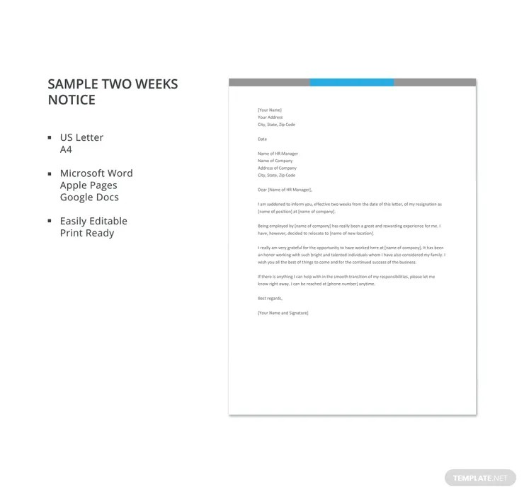 10+ Two Weeks Notice Letter Templates - PDF, DOC Free  Premium - two weeks notice letter