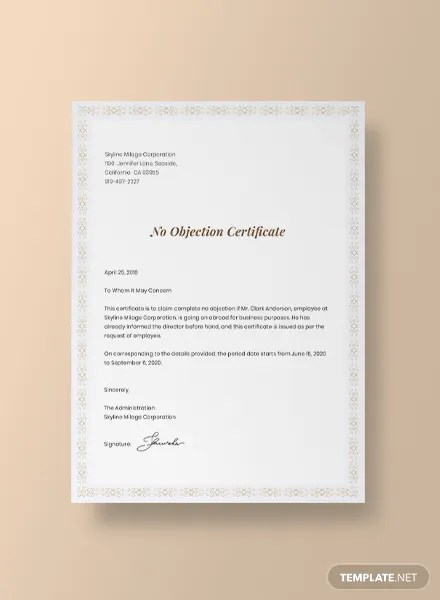No Objection Certificate for Employee Template in Adobe Photoshop