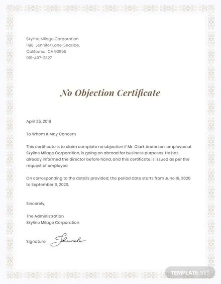 No Objection Certificate for Employee Template Free Templates - non objection certificate for job