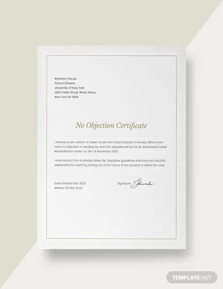 FREE No Objection Certificate for Student Template Download 200+