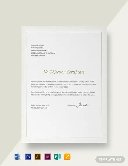 FREE No Objection Certificate for Student Template Download 435+