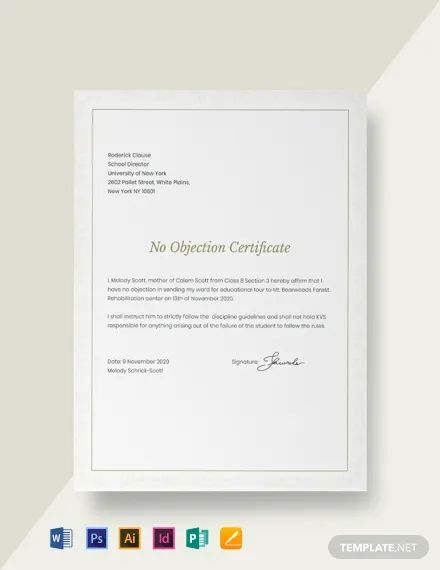 no objection certificate for student