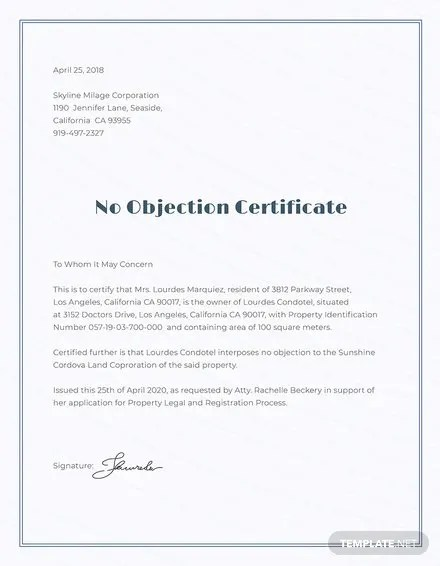 No Objection Certificate Format Template Download 200+ Certificates - format of non objection certificate