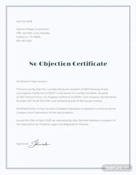 No Objection Certificate for Employee Template Free Templates