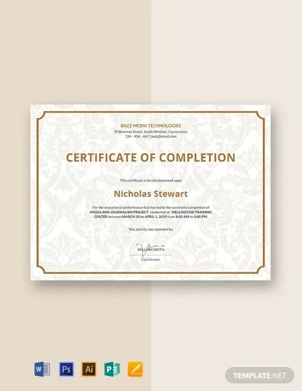 18+ FREE Completion Certificate Templates Download Ready-Made
