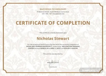 Free Project Completion Certificate Template in Adobe Photoshop - free certificate of completion templates for word