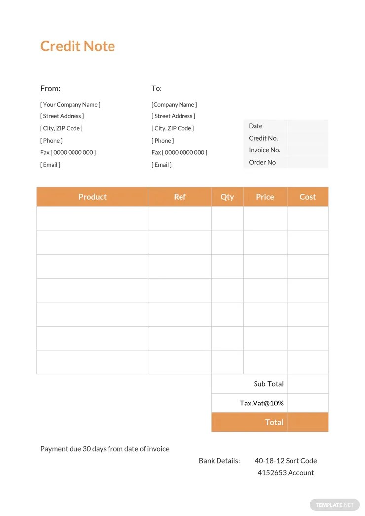 19+ Credit Note Templates - Word, Excel, PDF Free  Premium Templates