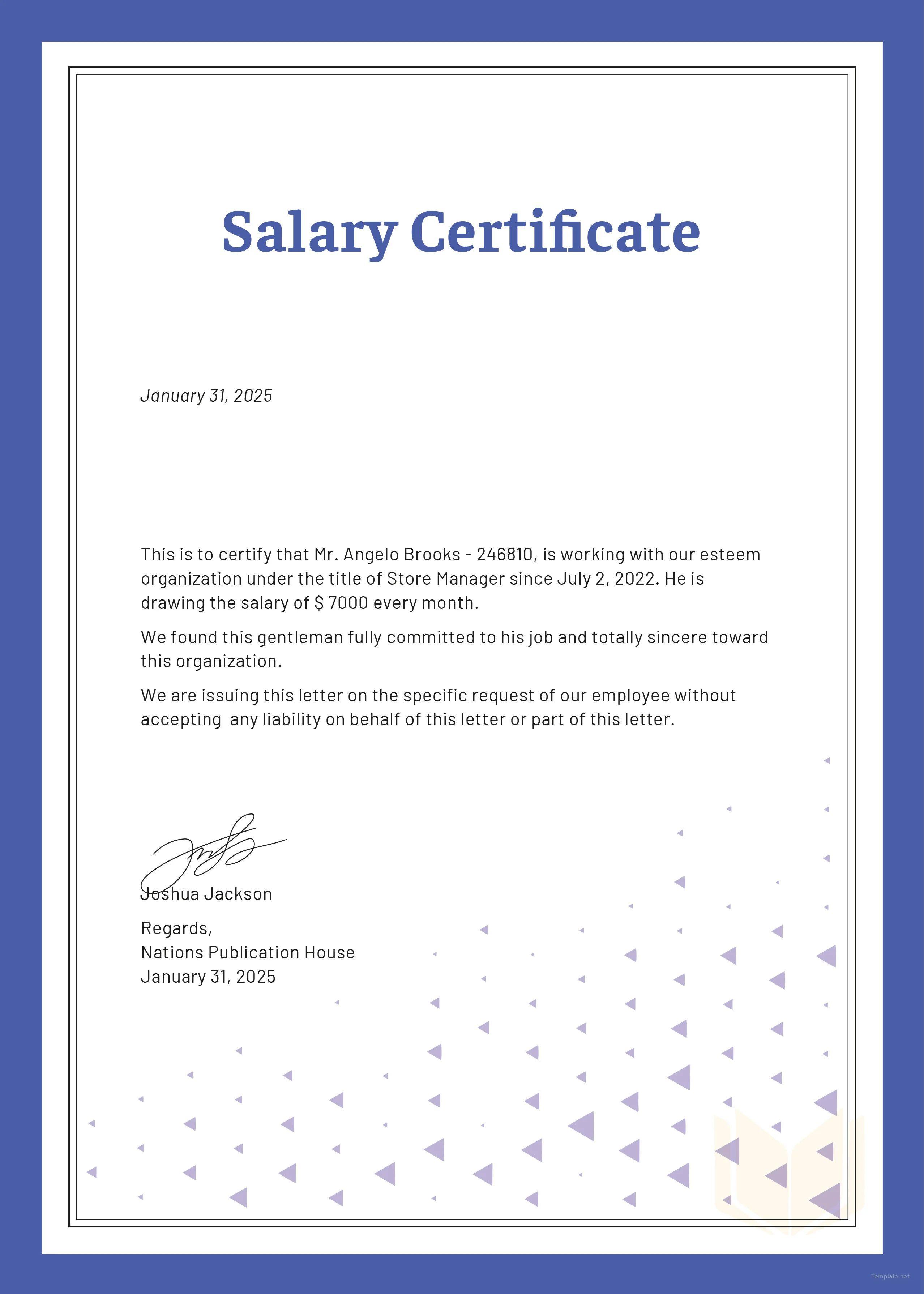 salary certificate model