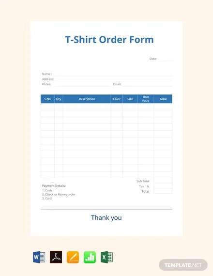 FREE Blank T-shirt Order Form Template Download 131+ Forms in Word
