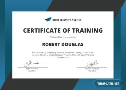 Free Security Training Certificate Template Free Templates