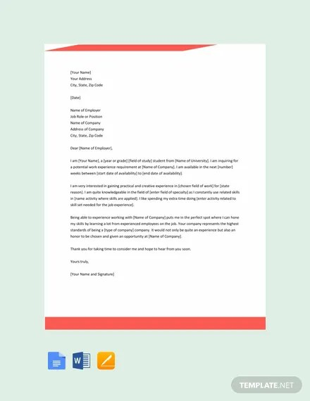 FREE Work Experience Letter Template Download 2191+ Letters in Word
