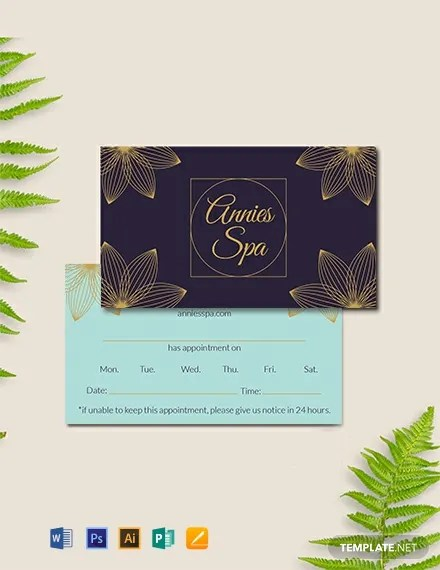FREE Spa Appointment Card Template Download 300+ Cards in PSD