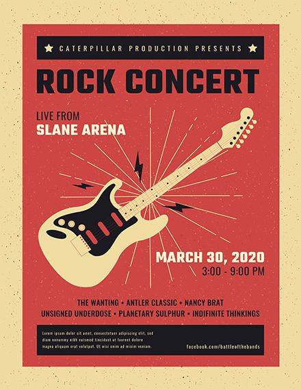 Live Rock Concert Poster Template in Adobe Photoshop, Illustrator