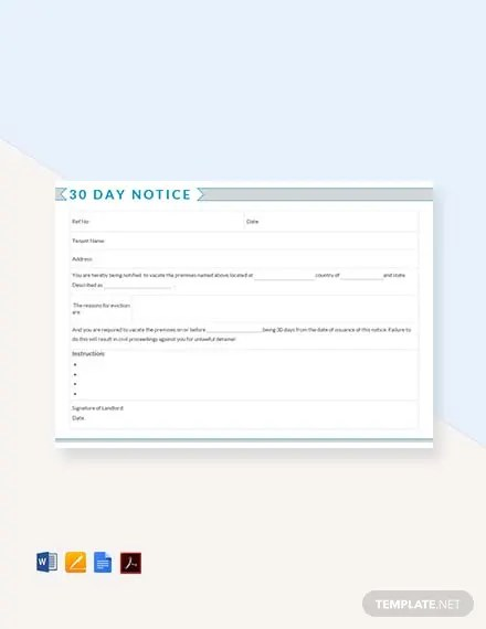 FREE 30 Day Notice Template Download 58+ Notices in Word, Apple