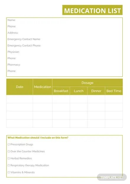 Medication List Template in Microsoft Word Templatenet