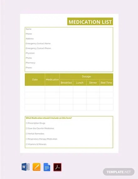 FREE Medication List Template Download 56+ Lists in Word, Apple