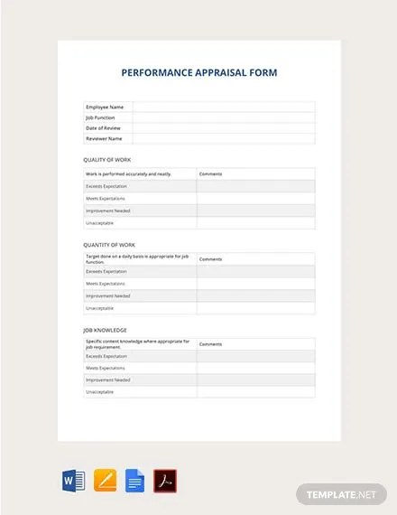 FREE Performance Appraisal Form Template Download 131+ Forms in