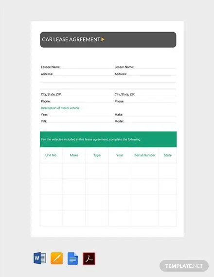 FREE Car Lease Agreement Template Download 214+ Contracts in Word