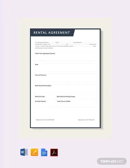 FREE Rental Lease Agreement Template Download 243+ Contracts in