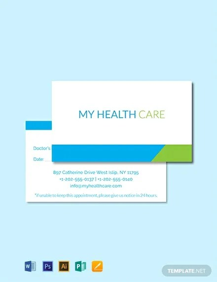 FREE Health Care Appointment Card Template Download 300+ Cards in