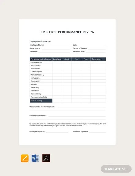 FREE Employee Performance Review Template Download 131+ Forms in