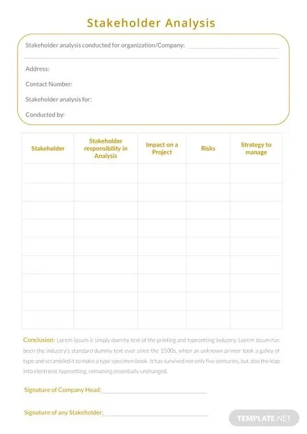 Stakeholder Analysis Template in Microsoft Word Templatenet