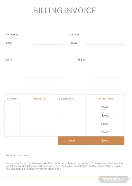Billing Invoice Template Download 78+ Invoices in Word, Excel