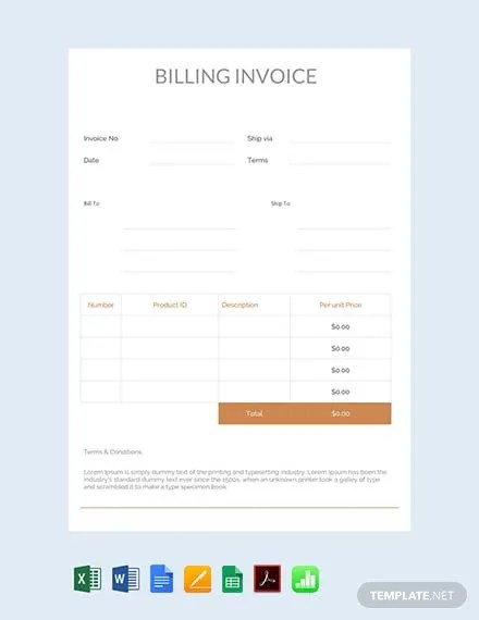 FREE Billing Invoice Template Download 148+ Invoices in Word, Excel