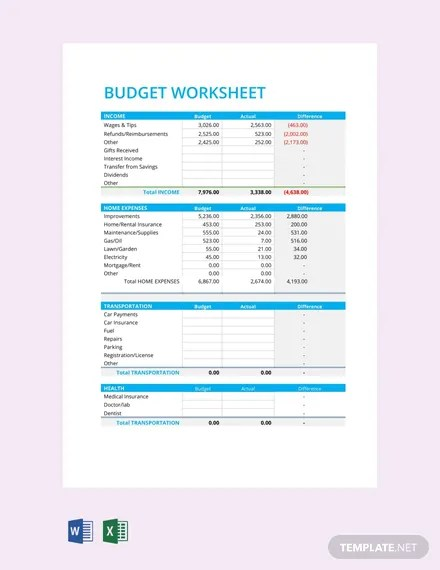FREE Budget Worksheet Template Download 46+ Sheets in Word, PDF