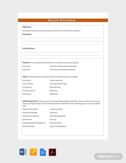 FREE Resume Worksheet Template Download 239+ Sheets in Word, PDF