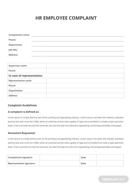 HR Employee Complaint Form Template Download 67+ Forms in Word