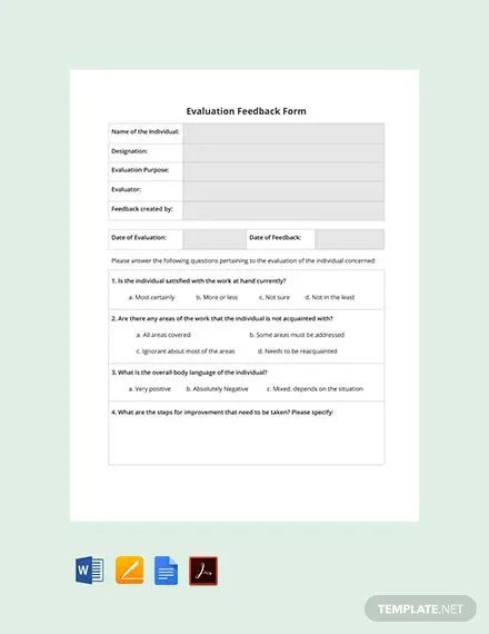 FREE HR Evaluation Feedback Form Template Download 131+ Forms in