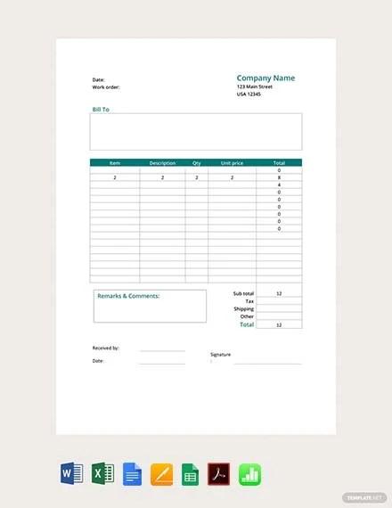FREE Printable Work Order Form Template Download 75+ Order