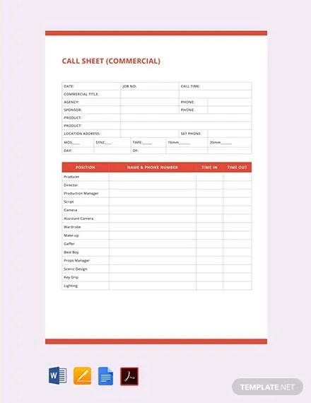 FREE Call Sheet Template Download Download 524+ Sheets in Word, PDF
