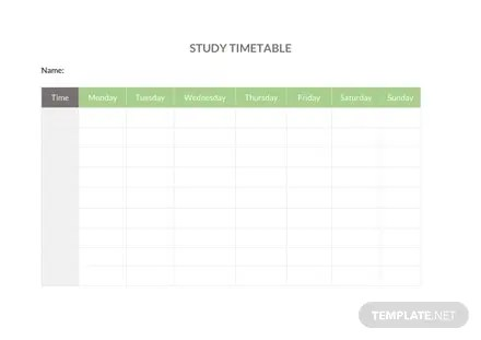 Study Timetable Template Free Templates