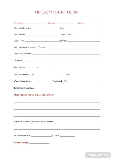HR Complaint Form Template Download 67+ Forms in Word Templatenet